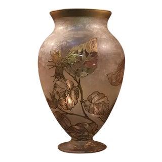 Monte Joye Art Nouveau Iced Glass Floral Vase