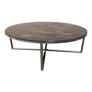 Palecek Coffee Table Petrified Wood & Chrome