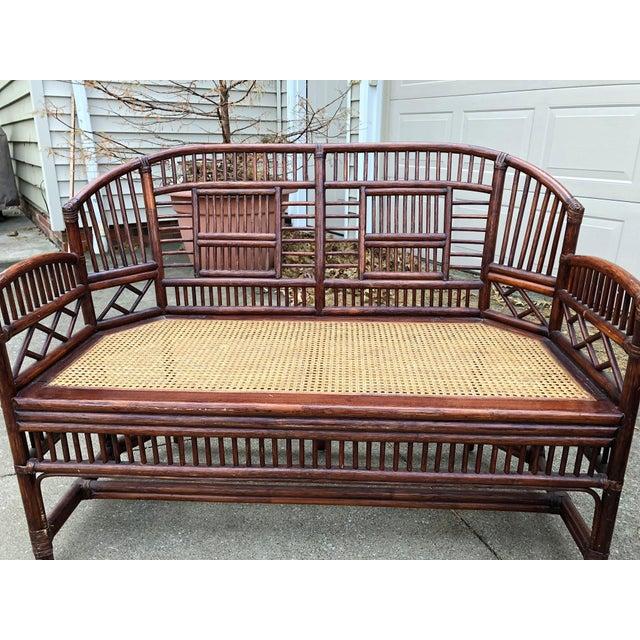 Vintage Brighton Bamboo Wicker Furniture Sofa - Set of 3 - Image 9 of 11