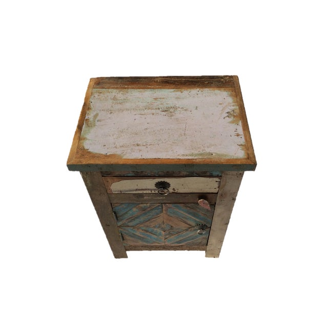 Reclaimed Wood Side Table/Small Cabinet - Image 2 of 5