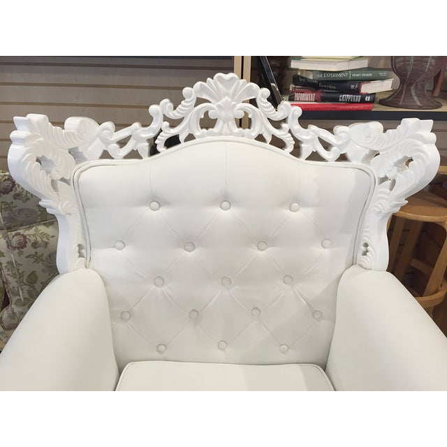 White Rococo Wingback Chairs - A Pair - Image 5 of 11