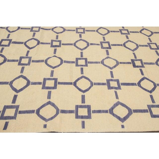 "Apadana Blue & Ivory Geometric Kilim - 9' X 12'2"" - Image 4 of 7"