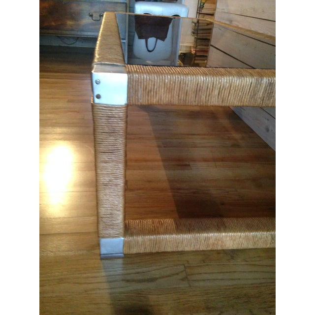 Wicker and Glass Top Coffee Table - Image 6 of 8