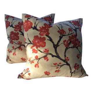 """Braemore Pillows in Red, Black & Ivory """"Flowering Branch"""" Linen - a Pair"""