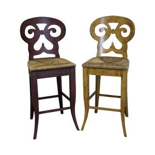 Biedermeier Style Counter Bar Stools - a Pair