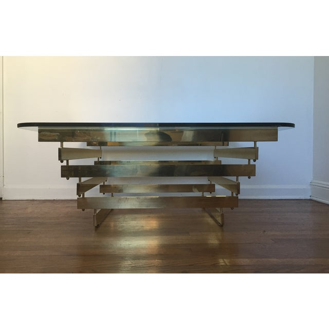 Image of Paul Mayan Attributed Brass Stacked Coffee Table