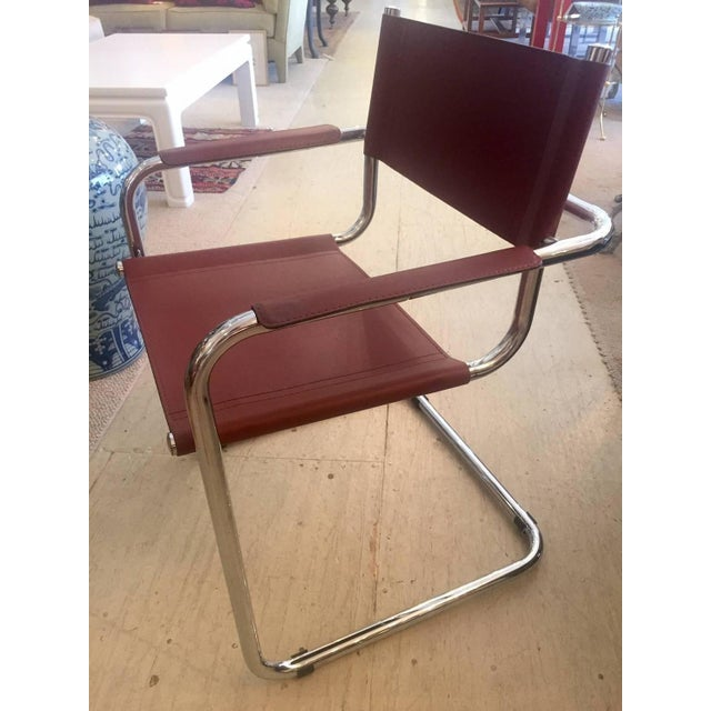 Cognac Leather and Chrome Armchairs - Set of 4 - Image 3 of 7