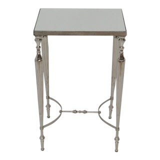 Aluminum Square Accent Side Table With Glass Top