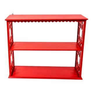 Chinoiserie Mid-Century Red Etagere