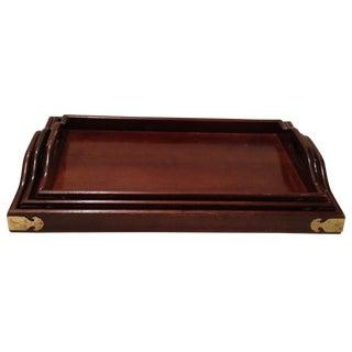 Mahogany & Brass Serving Trays - Set of 3