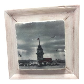"Handmade Framed 'Maiden Tower"" Print on Botticino Marble"