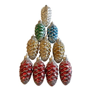 1950's German Christmas Pinecone Ornaments - Set of 10