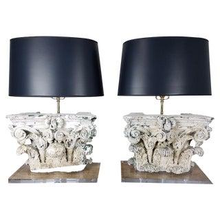 Vintage Corinthian Capital Lamps - Pair