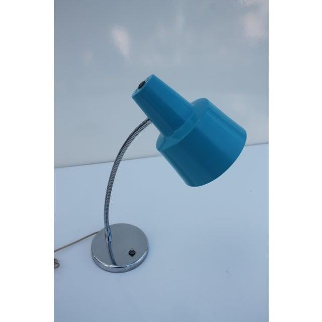 Directional Vintage Chrome & Blue Shade Desk Lamp - Image 4 of 8