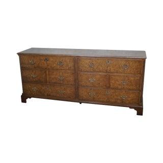 Vintage Baker Chippendale Style Burl Wood Long Dresser