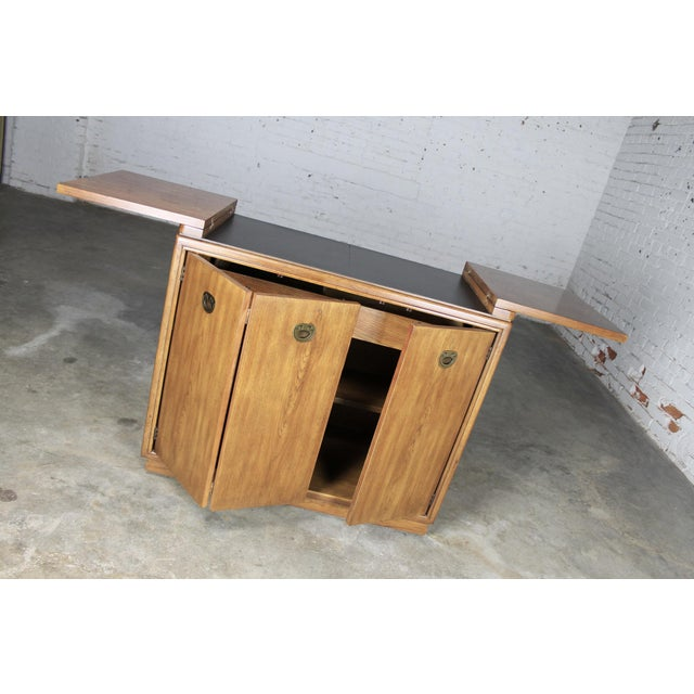 Drexel Heritage Mid-Century Campaign Style Rolling Dry Bar - Image 4 of 11