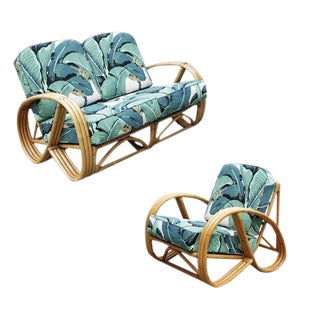 Round Pretzel Restored Rattan Lounge Chair & Sofa Set