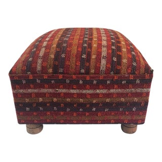 Boho Chic Mid Century Cool! Madeline Weinrib Tribal Kilim Ottoman. Great Colors, Size and Shape! Unique