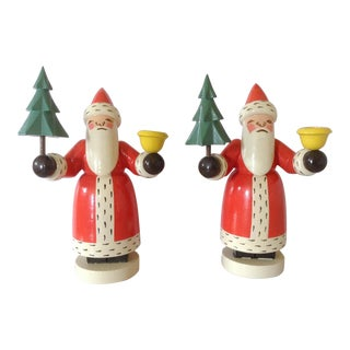 Pair of Erzgebirge German Santa Candlesticks