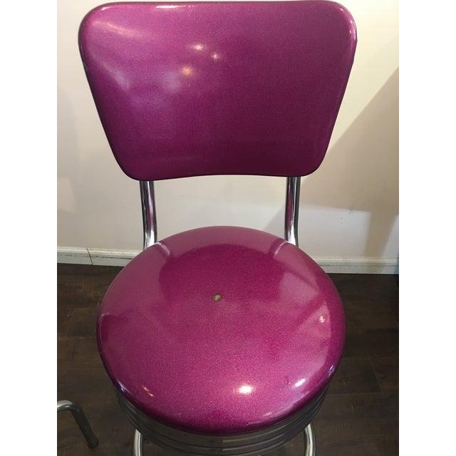 Purple Sparkle Vinyl & Chrome Barstools - a Pair - Image 4 of 6