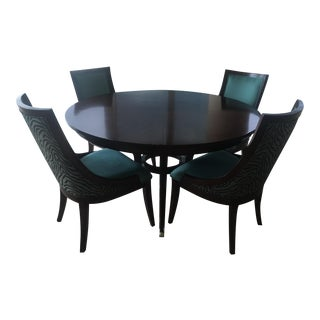 Mahogany Round Dining Table With 4 Custom Chairs