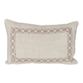 Oatmeal Linen Fretwork Lumbar Pillow