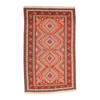 Red & Orange Afghan Sumak Kilim Rug - 5′3″ × 8′3″