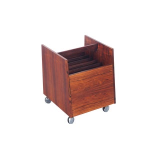 Rolf Hesland Danish Rosewood Rolling Magazine Stand
