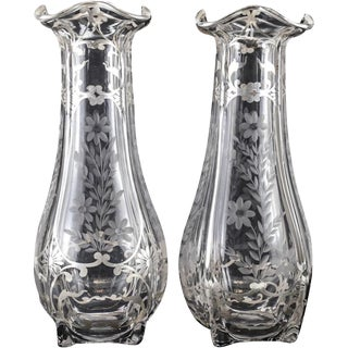 1900 Antique Large American Sterling Silver Overlay Etched Glass Vases - a Pair
