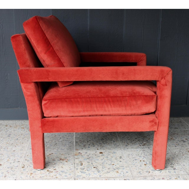 Reupholstered 1970s Mid Century Persimmon Velvet Milo Baughman Club Chair - Image 5 of 7
