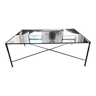 Metal Coffee Table With Antiqued Mirror Top