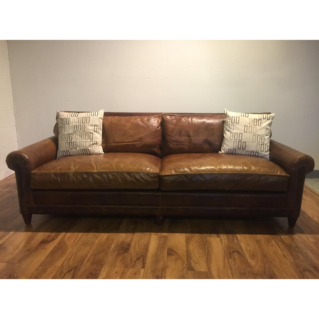 Ralph Lauren Leather Sofa With Throw Pillows Chairish