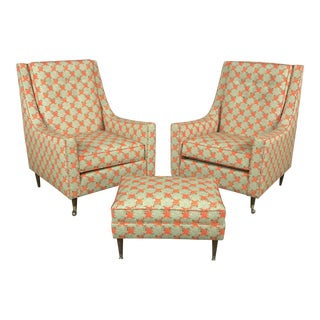 Mid-Century Patterned Wingback Chairs & Ottoman