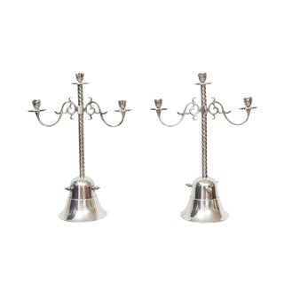 Silver Plate Candleholders - A Pair