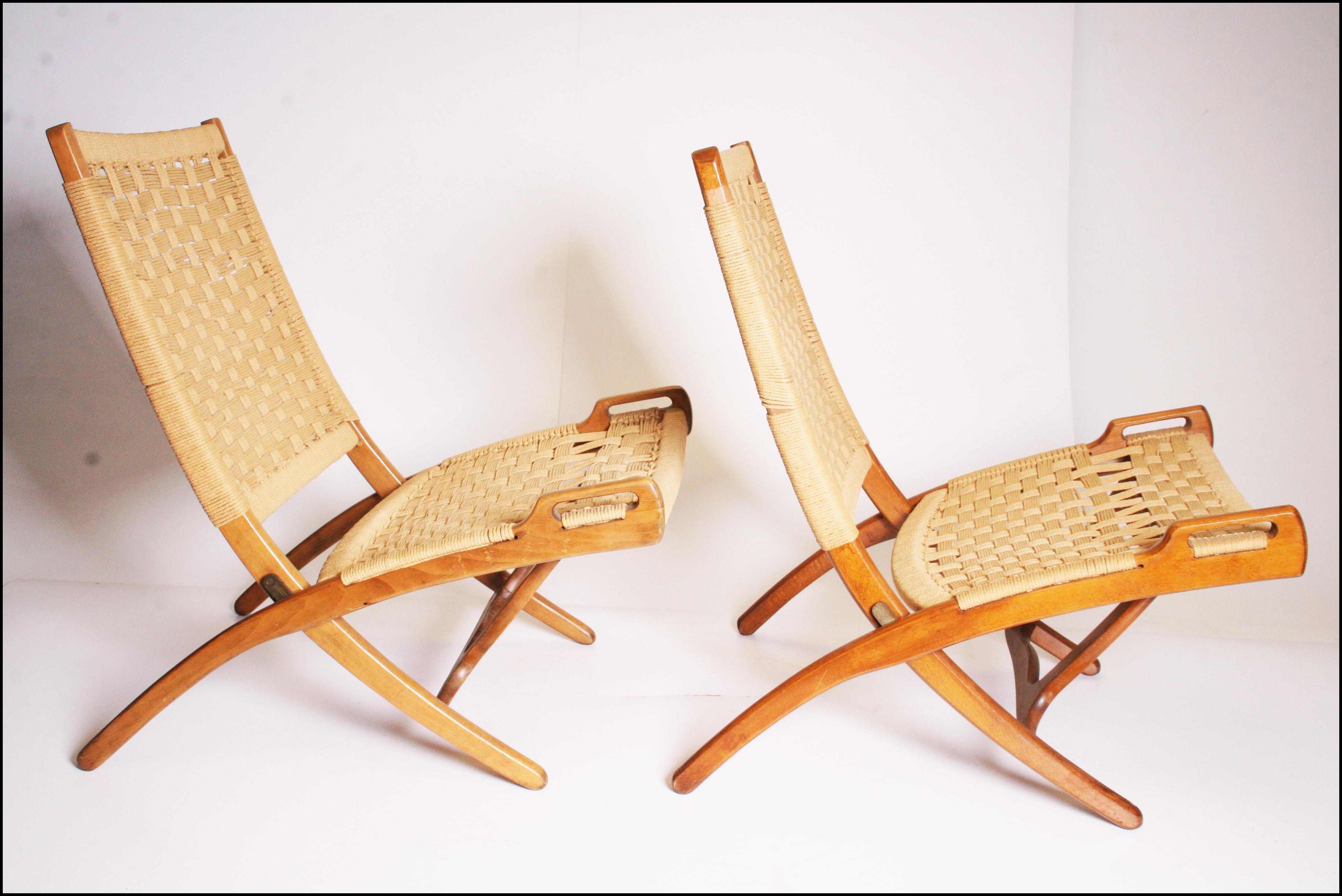 Mid Century Modern Hans Wenger Style Rope Folding Chairs   A Pair   Image 3  Of