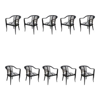 Set of Ten Ebonized Armchairs in the Style of Ed Wormley for Dunbar