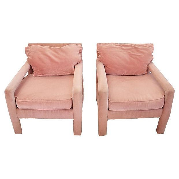 Image of Baughman-Style Pink Velvet Parsons Chairs - A Pair