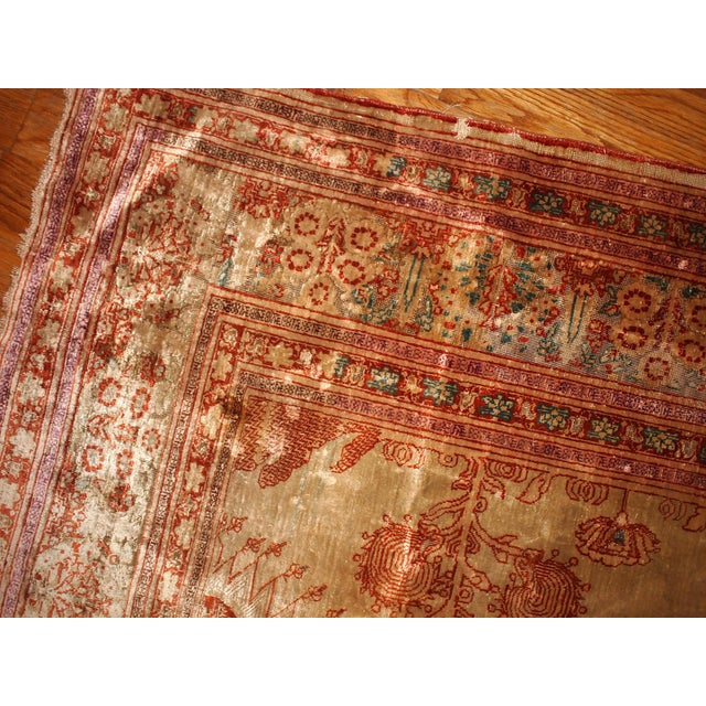 1880s Antique Persian Silk Tabriz Rug - 4' X 6' - Image 4 of 6