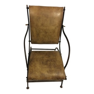 English Leather and Iron Accent Chair