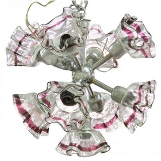 Italian Modern Art Glass & Chrome Chandelier