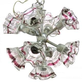 Italian Modern Art Glass & Chrome Chandelier