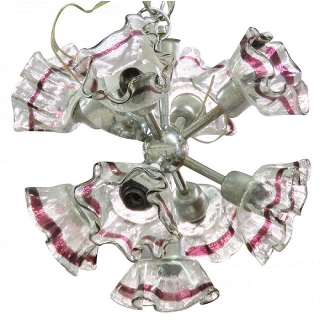 Italian Modern Art Glass & Chrome Chandelier - Image 1 of 4