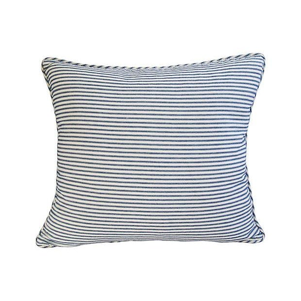 French Blue & White Ticking Pillows - A Pair - Image 6 of 7