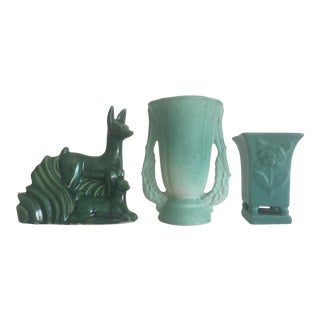 1930s Vintage Art Deco Niloak Green Art Pottery - Set of 3
