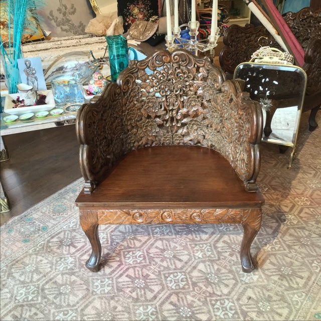 Ornately Carved Wooden Asian Accent Chair - Image 2 of 10