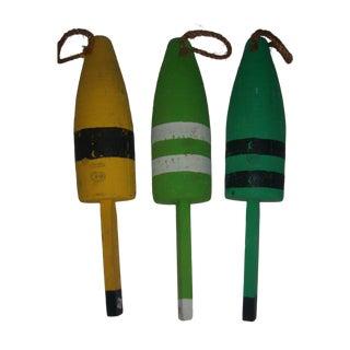 Painted Wood Buoys Nautical Decor - Set of 3
