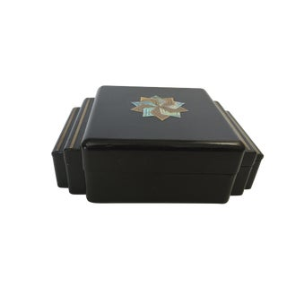 Black Lacquer Box With Brass and Abalone Inlay