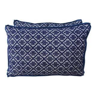 Blue and White Cotton Woven Hmong Pillows - A Pair