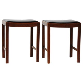 Danish Modern Leather Top Stools - A Pair