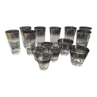 Dorothy Thorpe Silver Ombre Glass Cocktail Set- Set of 14